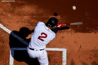 BOSTON, MA - SEPTEMBER 28: Xander Bogaerts #2 of the Boston Red Sox hits a home run during the first inning of a game against the Baltimore Orioles on September 28, 2019 at Fenway Park in Boston, Massachusetts. (Photo by Billie Weiss/Boston Red Sox/Getty Images) *** Local Caption *** Xander Bogaerts