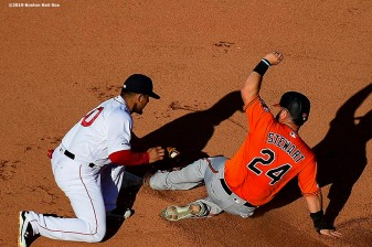 BOSTON, MA - SEPTEMBER 28: DJ Stewart #24 of the Baltimore Orioles is tagged out as he attempts to steal second base by Marco Hernandez #40 of the Boston Red Sox during the eighth inning of a game on September 28, 2019 at Fenway Park in Boston, Massachusetts. (Photo by Billie Weiss/Boston Red Sox/Getty Images) *** Local Caption *** DJ Stewart; Marco Hernandez