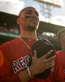 BOSTON, MA - SEPTEMBER 29: Mookie Betts #16 of the Boston Red Sox looks on before a game against the Baltimore Orioles on September 29, 2019 at Fenway Park in Boston, Massachusetts. (Photo by Billie Weiss/Boston Red Sox/Getty Images) *** Local Caption *** Mookie Betts