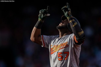 BOSTON, MA - SEPTEMBER 29: Hanser Alberto #57 of the Baltimore Orioles reacts after hitting an RBI single during the third inning of a game against the Boston Red Sox on September 29, 2019 at Fenway Park in Boston, Massachusetts. (Photo by Billie Weiss/Boston Red Sox/Getty Images) *** Local Caption *** Hanser Alberto