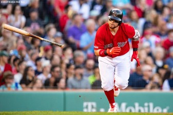 BOSTON, MA - SEPTEMBER 29: Christian Vazquez #7 of the Boston Red Sox tosses his bat after hitting a game tying RBI single during the sixth inning of a game against the Baltimore Orioles on September 29, 2019 at Fenway Park in Boston, Massachusetts. (Photo by Billie Weiss/Boston Red Sox/Getty Images) *** Local Caption *** Christian Vazquez