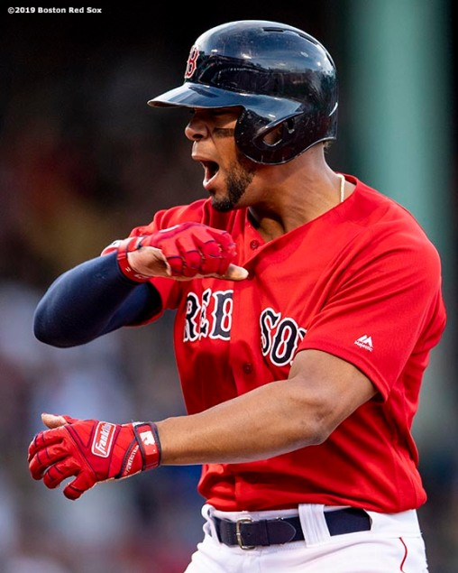 BOSTON, MA - SEPTEMBER 29: Xander Bogaerts #2 of the Boston Red Sox reacts after hitting a go-ahead RBI single during the seventh inning of a game against the Baltimore Orioles on September 29, 2019 at Fenway Park in Boston, Massachusetts. (Photo by Billie Weiss/Boston Red Sox/Getty Images) *** Local Caption *** Xander Bogaerts