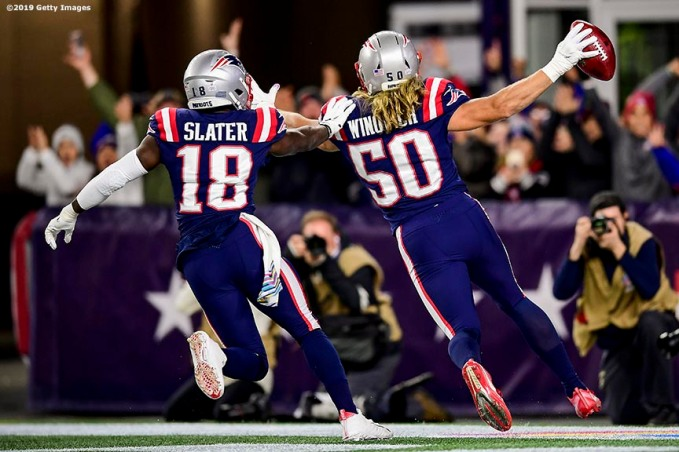 FOXBOROUGH, MA - OCTOBER 10: of the New England Patriots during the quarter of a game against the New York Giants at Gillette Stadium on October 10, 2019 in Foxborough, Massachusetts. (Photo by Billie Weiss/Getty Images) *** Local Caption ***