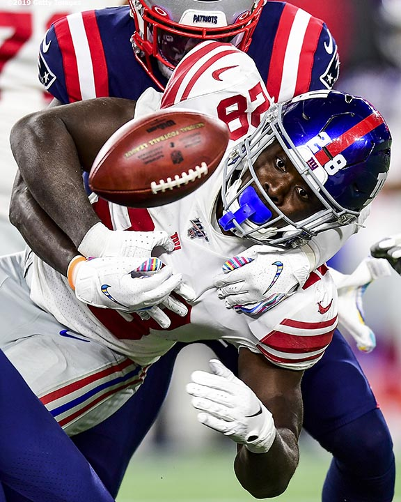 FOXBOROUGH, MA - OCTOBER 10: of the New England Patriots during the inning of a game against the New York Giants at Gillette Stadium on October 10, 2019 in Foxborough, Massachusetts. (Photo by Billie Weiss/Getty Images) *** Local Caption ***