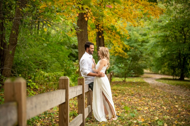 """Lisa and Tom pose for engagement photos at the Arnold Arboretum in Boston, Massachusetts."""
