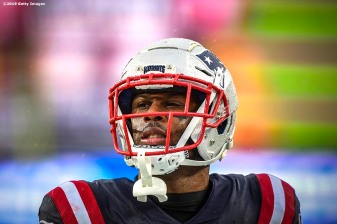 FOXBOROUGH, MASSACHUSETTS - OCTOBER 27: Running back James White #28 of the New England Patriots warms up prior to their game against the Cleveland Browns at Gillette Stadium on October 27, 2019 in Foxborough, Massachusetts. (Photo by Billie Weiss/Getty Images)
