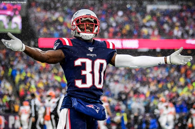 FOXBOROUGH, MASSACHUSETTS - OCTOBER 27: Cornerback Jason McCourty #30 of the New England Patriots celebrates a touchdown in the first quarter of the game against the Cleveland Browns at Gillette Stadium on October 27, 2019 in Foxborough, Massachusetts. (Photo by Billie Weiss/Getty Images)