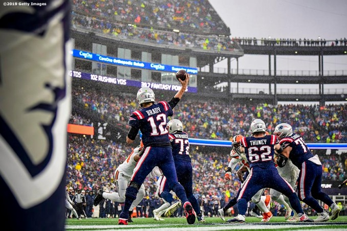 FOXBOROUGH, MASSACHUSETTS - OCTOBER 27: Quarterback Tom Brady #12 of the New England Patriots looks to pass in the first quarter of the game at against the Cleveland Browns Gillette Stadium on October 27, 2019 in Foxborough, Massachusetts. (Photo by Billie Weiss/Getty Images)