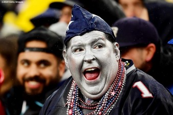 FOXBOROUGH, MASSACHUSETTS - OCTOBER 27: Fans in costume look on as the New England Patriots play against the Cleveland Browns at Gillette Stadium on October 27, 2019 in Foxborough, Massachusetts. (Photo by Billie Weiss/Getty Images)