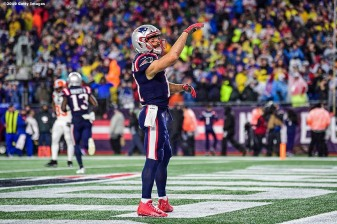 FOXBOROUGH, MA - OCTOBER 27: Julian Edelman #11 of the New England Patriots reacts after catching a touchdown pass during a game against the Cleveland Browns at Gillette Stadium on October 27, 2019 in Foxborough, Massachusetts. (Photo by Billie Weiss/Getty Images) *** Local Caption *** Julian Edelman
