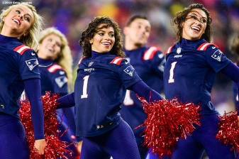 FOXBOROUGH, MA - OCTOBER 27: New England Patriots cheerleaders perform during a game against the Cleveland Browns at Gillette Stadium on October 27, 2019 in Foxborough, Massachusetts. (Photo by Billie Weiss/Getty Images) *** Local Caption ***
