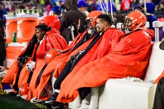 FOXBOROUGH, MA - OCTOBER 27: Members of the Cleveland Browns look on during a game against the New England Patriots at Gillette Stadium on October 27, 2019 in Foxborough, Massachusetts. (Photo by Billie Weiss/Getty Images) *** Local Caption ***