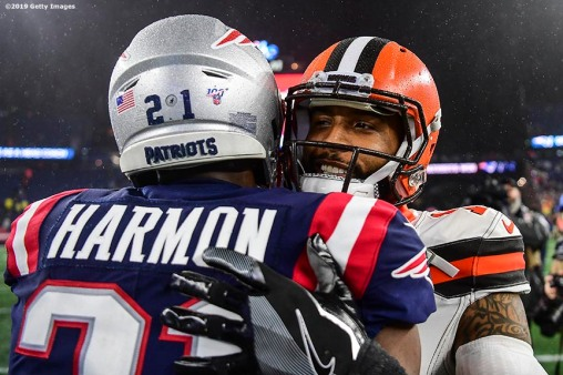FOXBOROUGH, MA - OCTOBER 27: Odell Beckham Jr. #13 of the Cleveland Browns talks with Duron Harmon #21 of the New England Patriots after a game at Gillette Stadium on October 27, 2019 in Foxborough, Massachusetts. (Photo by Billie Weiss/Getty Images) *** Local Caption *** Odell Beckham Jr.; Duron Harmon
