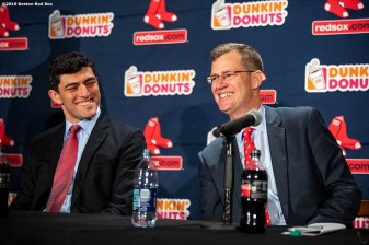 BOSTON, MA - OCTOBER 28: Chaim Bloom reacts with Boston Red Sox President & CEO Sam Kennedy as he is introduced as Boston Red Sox Chief Baseball Officer during a press conference on October 28, 2019 at Fenway Park in Boston, Massachusetts. (Photo by Billie Weiss/Boston Red Sox/Getty Images) *** Local Caption *** Sam Kennedy; Chaim Bloom