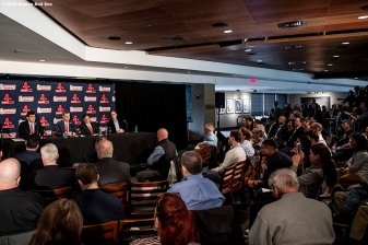 BOSTON, MA - OCTOBER 28: Chaim Bloom is introduced as Boston Red Sox Chief Baseball Officer during a press conference on October 28, 2019 at Fenway Park in Boston, Massachusetts. (Photo by Billie Weiss/Boston Red Sox/Getty Images) *** Local Caption *** Chaim Bloom