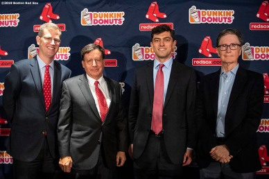 BOSTON, MA - OCTOBER 28: Boston Red Sox President & CEO Sam Kennedy, Chairman Tom Werner, Chief Baseball Officer Chaim Bloom, and Principal Owner John Henry pose for a photograph as Bloom is introduced as Chief Baseball Officer during a press conference on October 28, 2019 at Fenway Park in Boston, Massachusetts. (Photo by Billie Weiss/Boston Red Sox/Getty Images) *** Local Caption *** Chaim Bloom; Tom Werner; John Henry; Sam Kennedy