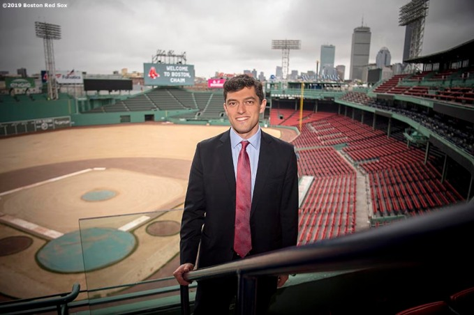 BOSTON, MA - OCTOBER 28: Chaim Bloom poses for a portrait as he is introduced as Boston Red Sox Chief Baseball Officer during a press conference on October 28, 2019 at Fenway Park in Boston, Massachusetts. (Photo by Billie Weiss/Boston Red Sox/Getty Images) *** Local Caption *** Chaim Bloom