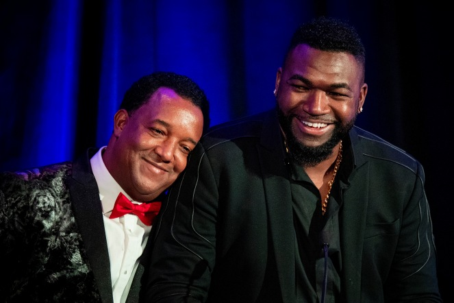 BOSTON, MA - NOVEMBER 1: Former Boston Red Sox pitcher Pedro Martinez speaks with former designated hitter Diduring the Pedro Martinez Foundation Fourth Annual Gala Supporting At-Risk Youth on November 1, 2019 at the Mandarin Oriental in Boston, Massachusetts. (Photo by Billie Weiss/Boston Red Sox/Getty Images) *** Local Caption *** Pedro Martinez; David Ortiz