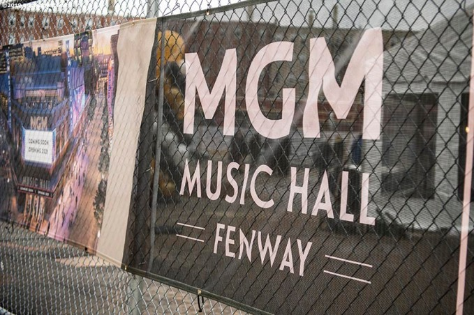 BOSTON, MA - NOVEMBER 22: Signage is displayed during a groundbreaking ceremony for the MGM Music Hall at Fenway November 22, 2019 at Fenway Park in Boston, Massachusetts. (Photo by Billie Weiss/Boston Red Sox/Getty Images) *** Local Caption ***