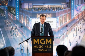 BOSTON, MA - NOVEMBER 22: Boston Red Sox President & CEO Sam Kennedy speaks during a groundbreaking ceremony for the MGM Music Hall at Fenway November 22, 2019 at Fenway Park in Boston, Massachusetts. (Photo by Billie Weiss/Boston Red Sox/Getty Images) *** Local Caption *** Sam Kennedy