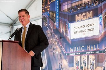 BOSTON, MA - NOVEMBER 22: Boston Mayor Marty Walsh speaks during a groundbreaking ceremony for the MGM Music Hall at Fenway November 22, 2019 at Fenway Park in Boston, Massachusetts. (Photo by Billie Weiss/Boston Red Sox/Getty Images) *** Local Caption *** Marty Walsh