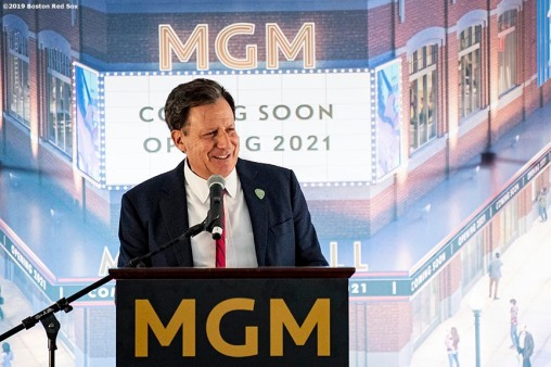 BOSTON, MA - NOVEMBER 22: Boston Red Sox Chairman Tom Werner speaks during a groundbreaking ceremony for the MGM Music Hall at Fenway November 22, 2019 at Fenway Park in Boston, Massachusetts. (Photo by Billie Weiss/Boston Red Sox/Getty Images) *** Local Caption *** Tom Werner