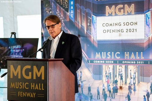 BOSTON, MA - NOVEMBER 22: President of Live Nation New England Don Law speaks during a groundbreaking ceremony for the MGM Music Hall at Fenway November 22, 2019 at Fenway Park in Boston, Massachusetts. (Photo by Billie Weiss/Boston Red Sox/Getty Images) *** Local Caption *** Don Law