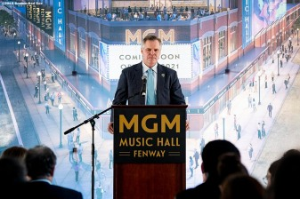 BOSTON, MA - NOVEMBER 22: Chairman and CEO of MGM Resorts Jim Murren speaks during a groundbreaking ceremony for the MGM Music Hall at Fenway November 22, 2019 at Fenway Park in Boston, Massachusetts. (Photo by Billie Weiss/Boston Red Sox/Getty Images) *** Local Caption *** Jim Murren