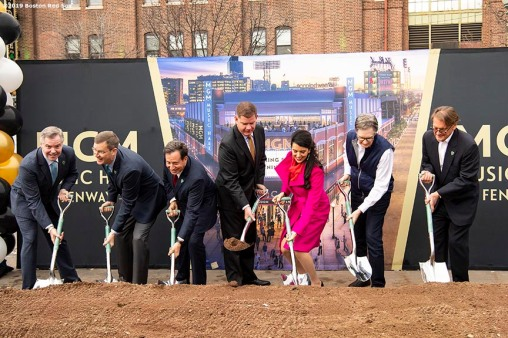 BOSTON, MA - NOVEMBER 22: Chairman and CEO of MGM Resorts Jim Murren, Boston Red Sox President & CEO Sam Kennedy, Boston Red Sox Chairman Tom Werner, Boston Mayor Marty Walsh, Fenway Sports Group Partner Linda Pizzuti Henry, Boston Red Sox Principal Owner John Henry, and President of Live Nation New England Don Law participate in a groundbreaking during a groundbreaking ceremony for the MGM Music Hall at Fenway November 22, 2019 at Fenway Park in Boston, Massachusetts. (Photo by Billie Weiss/Boston Red Sox/Getty Images) *** Local Caption *** Jim Murren; Sam Kennedy; Tom Werner; Marty Walsh; Linda Pizzuti Henry; John Henry; Don Law