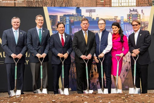 BOSTON, MA - NOVEMBER 22: Chairman and CEO of MGM Resorts Jim Murren, Boston Red Sox President & CEO Sam Kennedy, Boston Red Sox Chairman Tom Werner, Boston Mayor Marty Walsh, Boston Red Sox Principal Owner John Henry, Fenway Sports Group Partner Linda Pizzuti Henry, and President of Live Nation New England Don Law participate in a groundbreaking during a groundbreaking ceremony for the MGM Music Hall at Fenway November 22, 2019 at Fenway Park in Boston, Massachusetts. (Photo by Billie Weiss/Boston Red Sox/Getty Images) *** Local Caption *** Jim Murren; Sam Kennedy; Tom Werner; Marty Walsh; Linda Pizzuti Henry; John Henry; Don Law