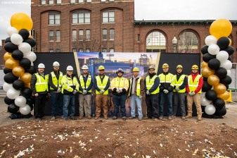 BOSTON, MA - NOVEMBER 22: Members of Gaston Electrical pose for a photograph during a groundbreaking ceremony for the MGM Music Hall at Fenway November 22, 2019 at Fenway Park in Boston, Massachusetts. (Photo by Billie Weiss/Boston Red Sox/Getty Images) *** Local Caption ***