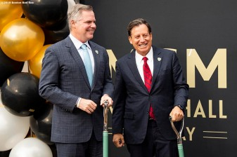 BOSTON, MA - NOVEMBER 22: Chairman and CEO of MGM Resorts Jim Murren talks with Boston Red Sox Chairman Tom Werner during a groundbreaking ceremony for the MGM Music Hall at Fenway November 22, 2019 at Fenway Park in Boston, Massachusetts. (Photo by Billie Weiss/Boston Red Sox/Getty Images) *** Local Caption *** Tom Werner; Jim Murren
