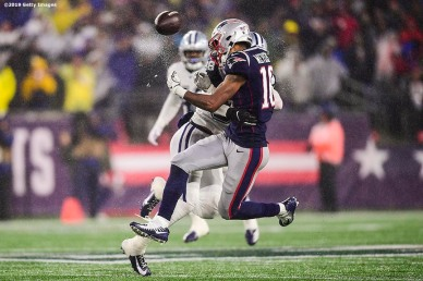 FOXBOROUGH, MA - NOVEMBER 24: Jakobi Meyers #16 of the New England Patriots is hit by Jeff Heath #38 of the Dallas Cowboys as he drops the pass during the third quarter of a game at Gillette Stadium on November 24, 2019 in Foxborough, Massachusetts. (Photo by Billie Weiss/Getty Images) *** Local Caption ***Jakbi Meyers; Jeff Heath