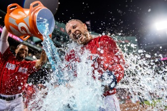 BOSTON, MA - JUNE 21: Christian Vazquez #7 of the Boston Red Sox reacts as he is doused with Gatorade by Xander Bogaerts #2 after hitting a game winning walk-off two run home run during the tenth inning of a game against the Toronto Blue Jays on June 21, 2019 at Fenway Park in Boston, Massachusetts. (Photo by Billie Weiss/Boston Red Sox/Getty Images) *** Local Caption *** Christian Vazquez; Xander Bogaerts