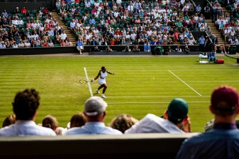 July 2, 2019 , Wimbledon, England: Serena Williams hits a forehand during a match against Giulia Gatto-Monticone on Centre Court during the 2019 Championships Wimbledon at the All England Lawn Tennis Club in Wimbledon, England Tuesday, July 2, 2019. (Photo by Billie Weiss/Wimbledon)