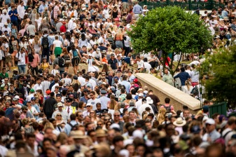 July 6, 2019 , Wimbledon, England: Crowds are shown during the 2019 Championships Wimbledon at the All England Lawn Tennis Club in Wimbledon, England Saturday, July 6, 2019. (Photo by Billie Weiss/Wimbledon)