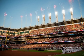 CLEVELAND, OH - JULY 09: Fireworks explode as starting lineups are introduced before the 2019 Major League Baseball All-Star Game at Progressive Field on July 9, 2019 in Cleveland, Ohio. (Photo by Billie Weiss/Boston Red Sox/Getty Images) *** Local Caption ***