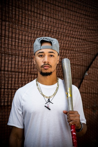 August 16, 2019 , Brighton, MA: Boston Red Sox right fielder Mookie Betts poses during a spot production shoot for BodyArmor at High Output Studios in Brighton, Massachusetts Friday, August 16, 2019. (Photo by Billie Weiss/BodyArmor)