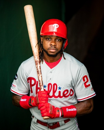 August 21, 2019 , Boston, MA: Roman Quinn #24 of the Philadelphia Phillies poses for a portrait for Franklin Sports at Fenway Park in Boston, Massachusetts Wednesday, August 21, 2019. (Photo by Billie Weiss/Franklin Sports)