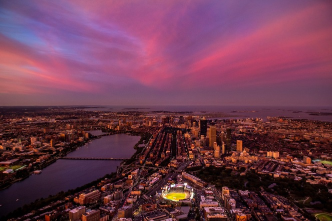 BOSTON, MA - SEPTEMBER 5: An aerial view of Fenway Park and the downtown Boston city skyline at sunset during a game between the Boston Red Sox and the Minnesota Twins on September 5, 2019 at Fenway Park in Boston, Massachusetts. (Photo by Billie Weiss/Boston Red Sox/Getty Images) *** Local Caption ***