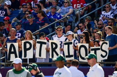 FOXBOROUGH, MA - SEPTEMBER 22: Fans display a sign during a game between the New England Patriots and the New York Jets at Gillette Stadium on September 22, 2019 in Foxborough, Massachusetts. (Photo by Billie Weiss/Getty Images) *** Local Caption ***
