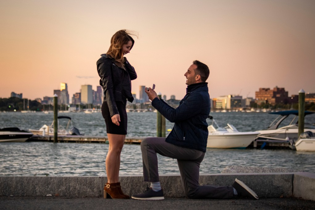 October 4, 2019 , Dorchester, MA: Billie Weiss proposes to Alaina Stipcak in the Port Norfolk neighborhood of Dorchester, Massachusetts Friday, October 4, 2019. (Photo by Marissa McClain)