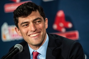 BOSTON, MA - OCTOBER 28: Chaim Bloom speaks as he is introduced as Boston Red Sox Chief Baseball Officer during a press conference on October 28, 2019 at Fenway Park in Boston, Massachusetts. (Photo by Billie Weiss/Boston Red Sox/Getty Images) *** Local Caption *** Chaim Bloom