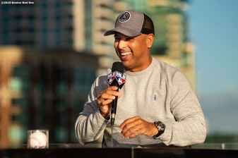 BOSTON, MA - DECEMBER 9: Manager Alex Cora of the Boston Red Sox speaks on the set of MLB Network during the 2019 Major League Baseball Winter Meetings on December 9, 2019 in San Diego, California. (Photo by Billie Weiss/Boston Red Sox/Getty Images) *** Local Caption *** Alex Cora