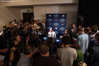 BOSTON, MA - DECEMBER 9: Manager Alex Cora of the Boston Red Sox speaks with the media during the 2019 Major League Baseball Winter Meetings on December 9, 2019 in San Diego, California. (Photo by Billie Weiss/Boston Red Sox/Getty Images) *** Local Caption *** Alex Cora