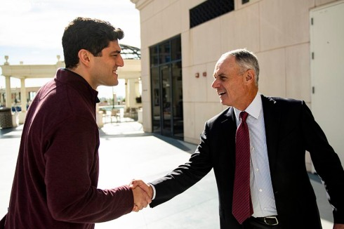 BOSTON, MA - DECEMBER 10: Chief Baseball Officer Chaim Bloom of the Boston Red Sox shakes hands with Major League Baseball Commissioner Rob Manfred during the 2019 Major League Baseball Winter Meetings on December 10, 2019 in San Diego, California. (Photo by Billie Weiss/Boston Red Sox/Getty Images) *** Local Caption *** Chaim Bloom; Rob Manfred