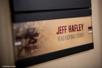 December 16, 2019, Chestnut Hill, MA: The name placard of Newly appointed Boston College Football Head Coach Jeff Hafley is displayed during his first day at Boston College in Chestnut Hill, Massachusetts Monday, December 16, 2019. (Photo by Billie Weiss/Boston College)