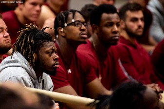 December 16, 2019, Chestnut Hill, MA: Players look on as newly appointed Boston College Football Head Coach Jeff Hafley addresses the team during his first day at Boston College in Chestnut Hill, Massachusetts Monday, December 16, 2019. (Photo by Billie Weiss/Boston College)