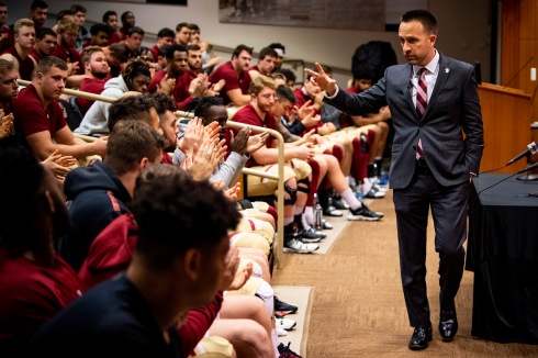 December 16, 2019, Chestnut Hill, MA: Newly appointed Boston College Football Head Coach Jeff Hafley addresses the team during his first day at Boston College in Chestnut Hill, Massachusetts Monday, December 16, 2019. (Photo by Billie Weiss/Boston College)