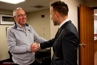 December 16, 2019, Chestnut Hill, MA: Newly appointed Boston College Football Head Coach Jeff Hafley meets hockey coach Jerry York during his first day at Boston College in Chestnut Hill, Massachusetts Monday, December 16, 2019. (Photo by Billie Weiss/Boston College)